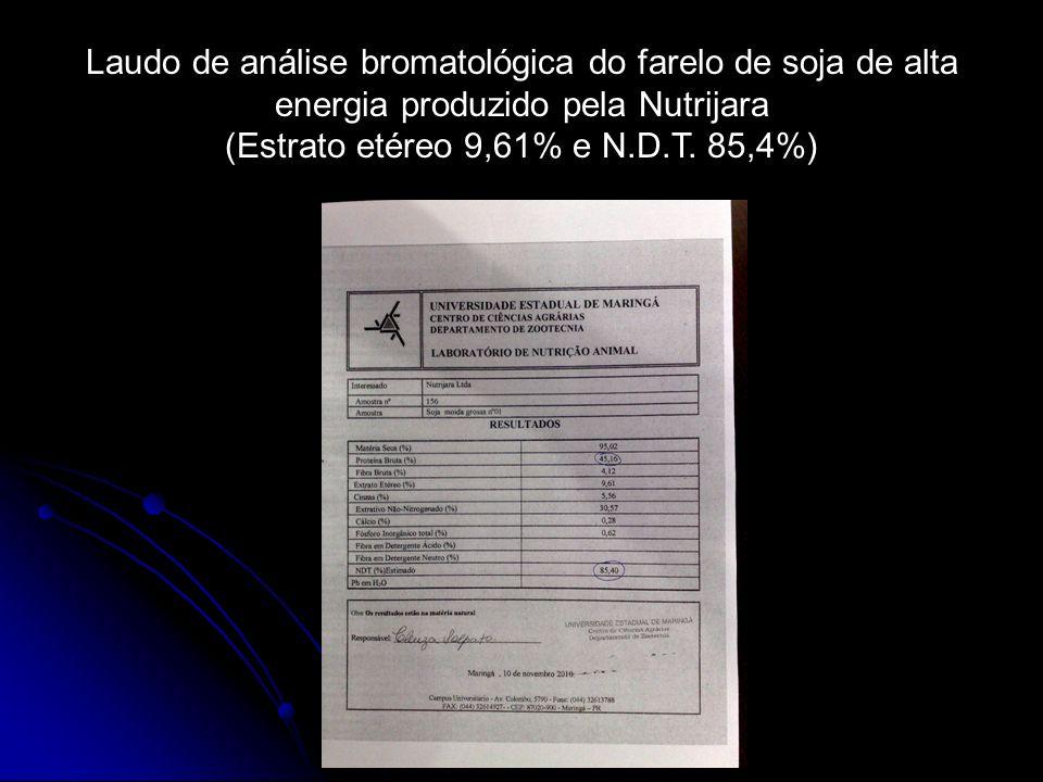 Laudo de análise bromatológica do farelo de soja de alta energia produzido pela Nutrijara (Estrato etéreo 9,61% e N.D.T. 85,4%)
