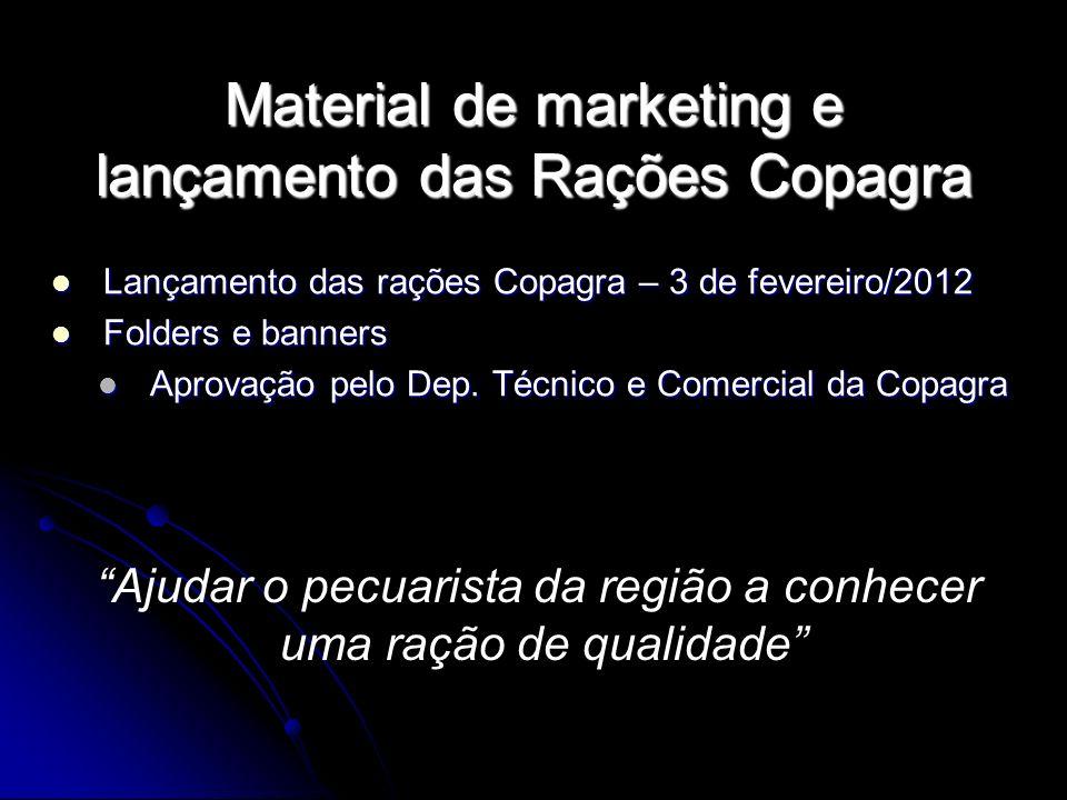 Material de marketing e lançamento das Rações Copagra Lançamento das rações Copagra – 3 de fevereiro/2012 Lançamento das rações Copagra – 3 de feverei