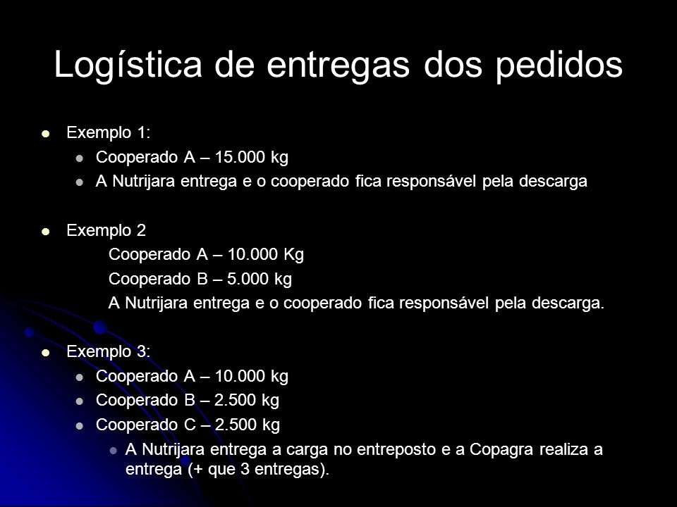 Logística de entregas dos pedidos Exemplo 1: Cooperado A – 15.000 kg A Nutrijara entrega e o cooperado fica responsável pela descarga Exemplo 2 Cooper