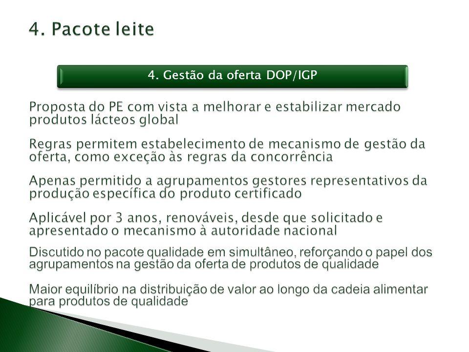 4. Gestão da oferta DOP/IGP