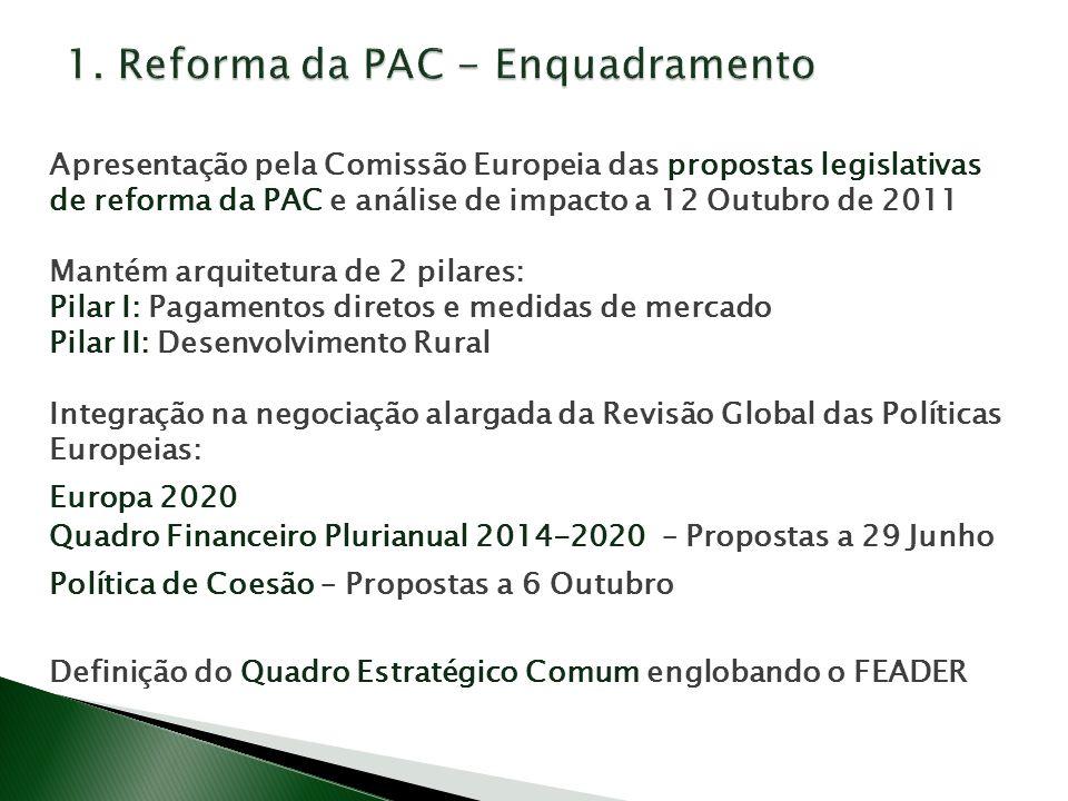 Apresentação pela Comissão Europeia das propostas legislativas de reforma da PAC e análise de impacto a 12 Outubro de 2011 Mantém arquitetura de 2 pilares: Pilar I: Pagamentos diretos e medidas de mercado Pilar II: Desenvolvimento Rural Integração na negociação alargada da Revisão Global das Políticas Europeias: Europa 2020 Quadro Financeiro Plurianual 2014-2020 – Propostas a 29 Junho Política de Coesão – Propostas a 6 Outubro Definição do Quadro Estratégico Comum englobando o FEADER
