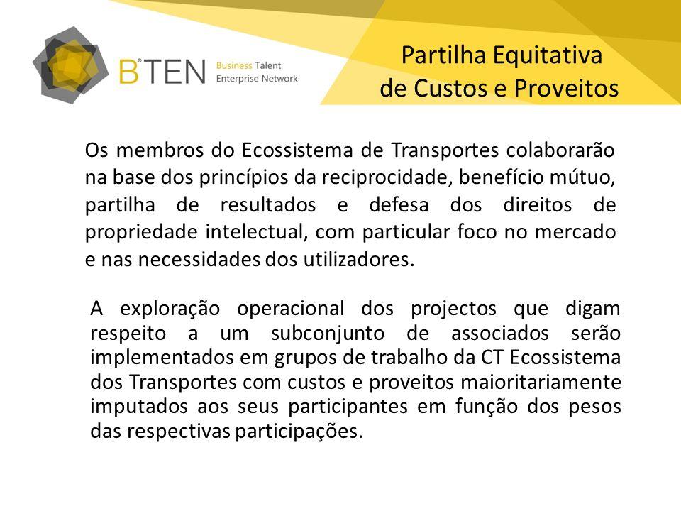 Partilha Equitativa de Custos e Proveitos Os membros do Ecossistema de Transportes colaborarão na base dos princípios da reciprocidade, benefício mútu