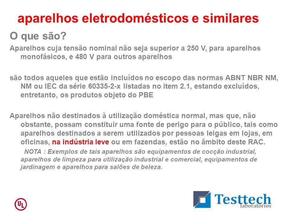 aparelhos eletrodomésticos e similares O que são? Aparelhos cuja tensão nominal não seja superior a 250 V, para aparelhos monofásicos, e 480 V para ou