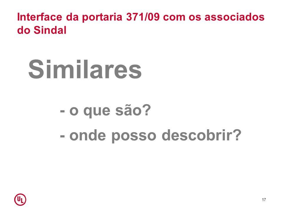 Interface da portaria 371/09 com os associados do Sindal Similares - o que são? - onde posso descobrir? 17