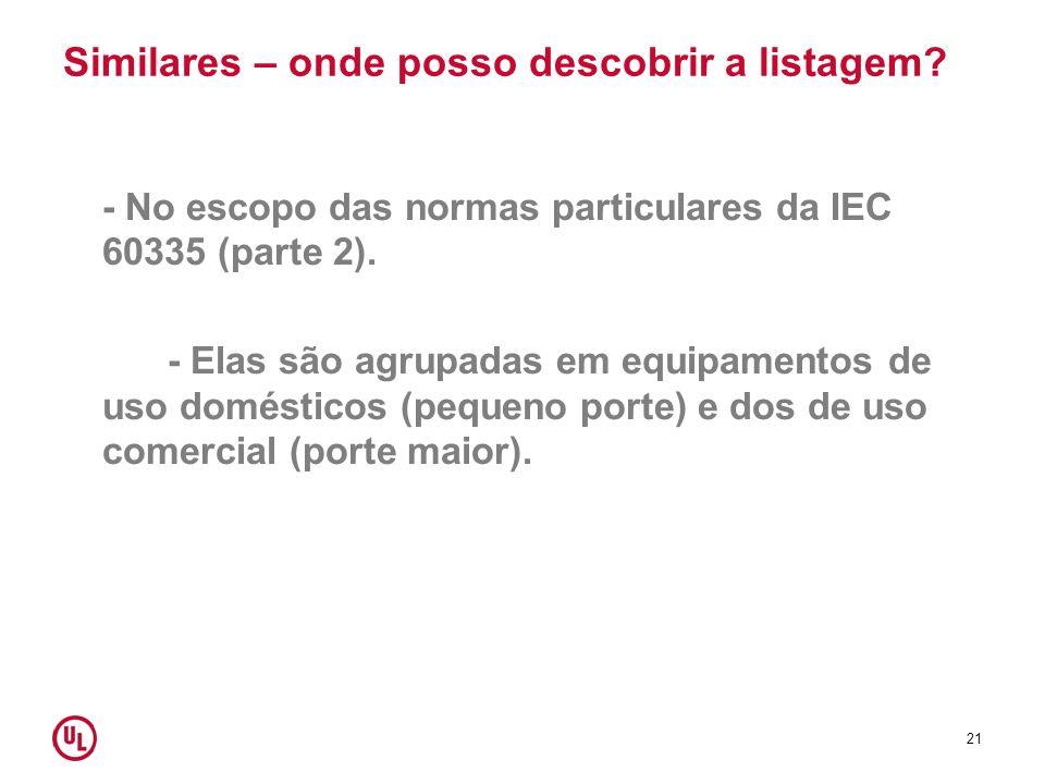 Similares – onde posso descobrir a listagem? - No escopo das normas particulares da IEC 60335 (parte 2). - Elas são agrupadas em equipamentos de uso d