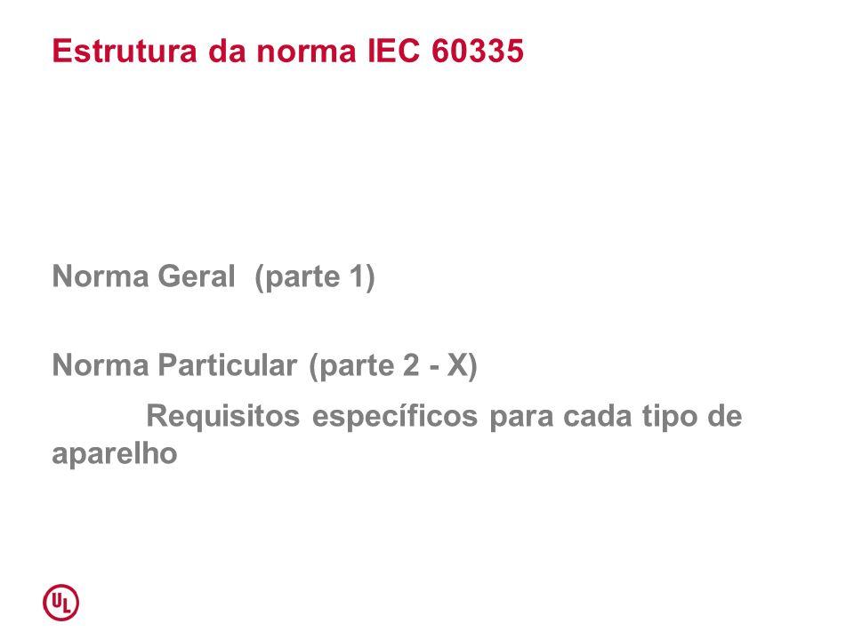 Estrutura da norma IEC 60335 Norma Geral (parte 1) Norma Particular (parte 2 - X) Requisitos específicos para cada tipo de aparelho