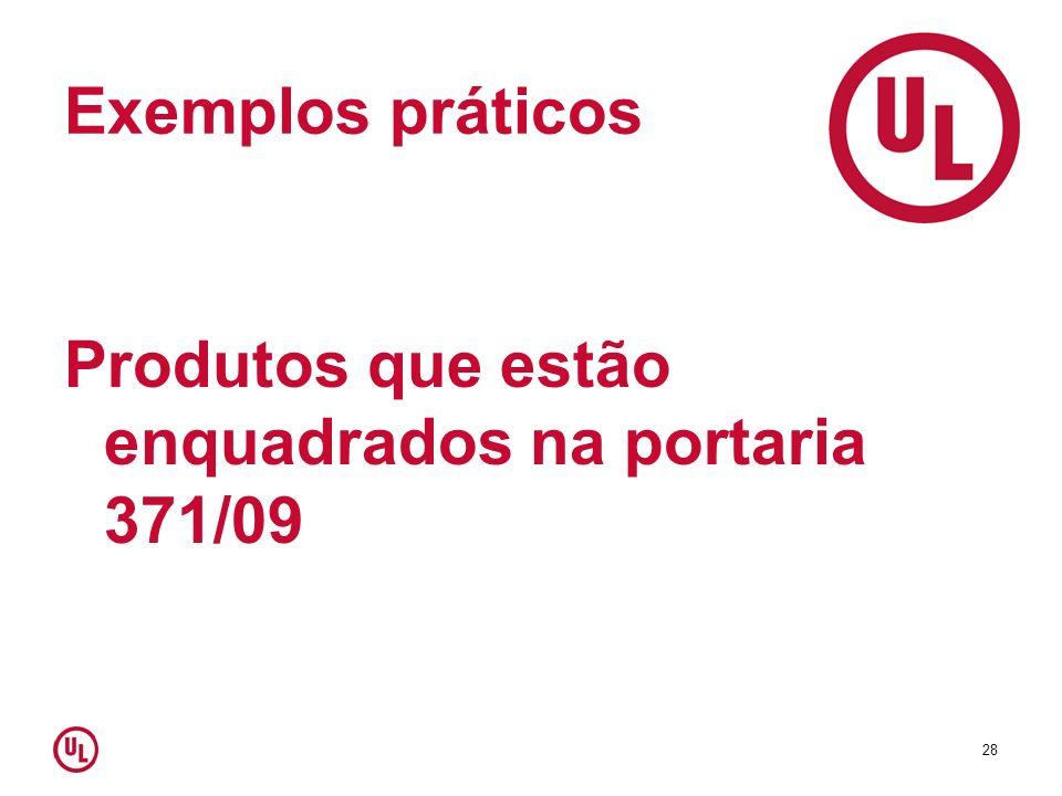 Exemplos práticos Produtos que estão enquadrados na portaria 371/09 28