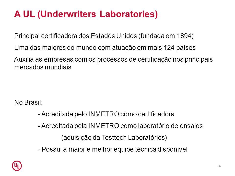 A UL (Underwriters Laboratories) Principal certificadora dos Estados Unidos (fundada em 1894) Uma das maiores do mundo com atuação em mais 124 países