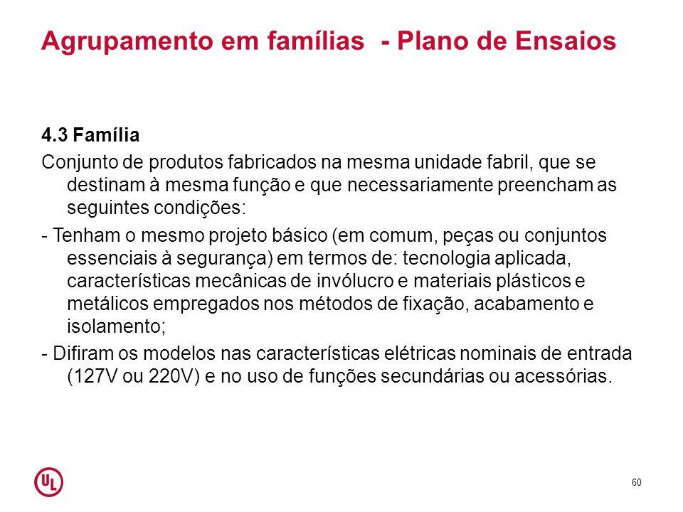 Agrupamento em famílias - Plano de Ensaios 4.3 Família Conjunto de produtos fabricados na mesma unidade fabril, que se destinam à mesma função e que n