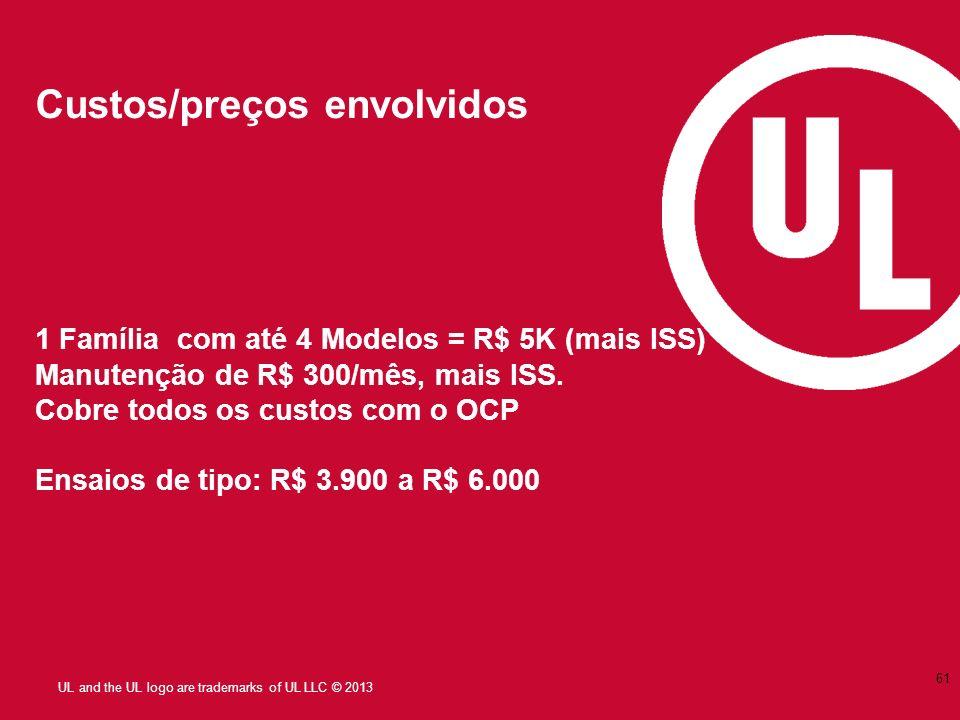 UL and the UL logo are trademarks of UL LLC © 2013 Custos/preços envolvidos 1 Família com até 4 Modelos = R$ 5K (mais ISS) Manutenção de R$ 300/mês, m