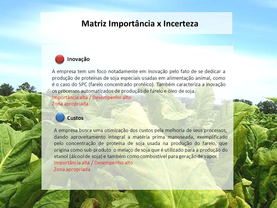 Matriz Importância x Incerteza Inovação A empresa tem um foco notadamente em inovação pelo fato de se dedicar a produção de proteínas de soja especiai