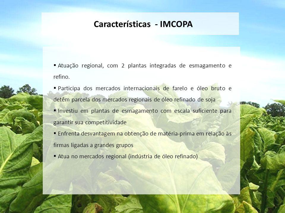 Características - IMCOPA Atuação regional, com 2 plantas integradas de esmagamento e refino. Participa dos mercados internacionais de farelo e óleo br
