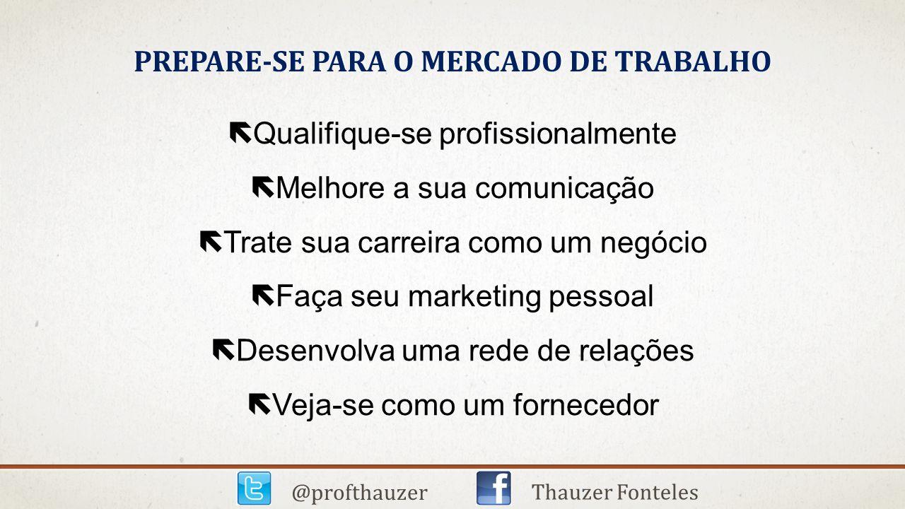PREPARE-SE PARA O MERCADO DE TRABALHO ëQualifique-se profissionalmente ëMelhore a sua comunicação ëTrate sua carreira como um negócio ëFaça seu market