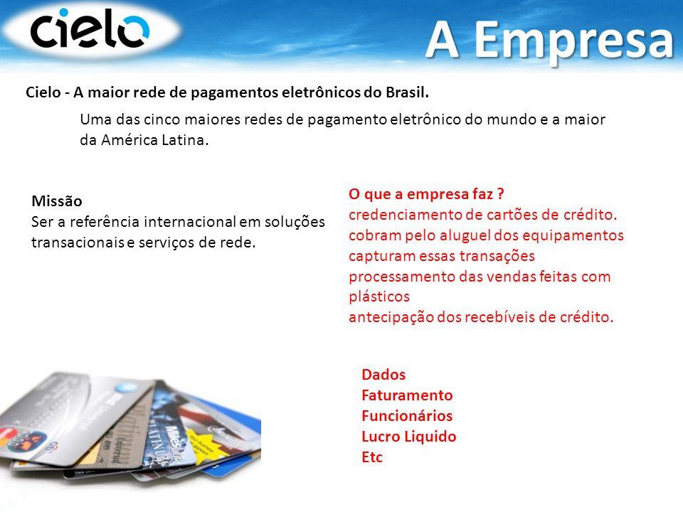 Cielo - A maior rede de pagamentos eletrônicos do Brasil. Missão Ser a referência internacional em soluções transacionais e serviços de rede. A Empres