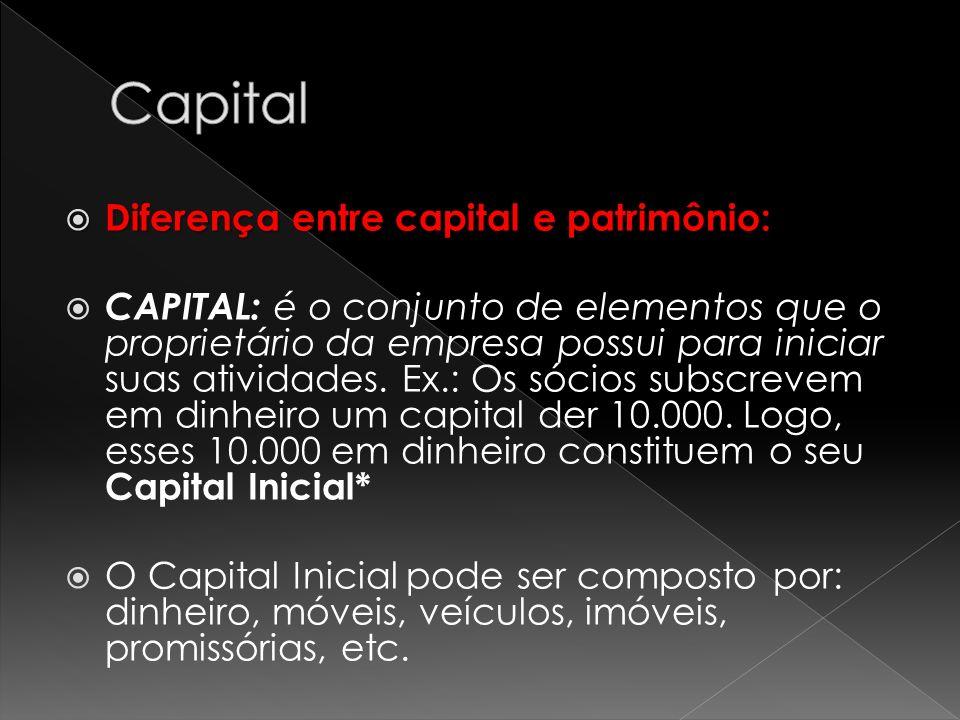 Diferença entre capital e patrimônio: Diferença entre capital e patrimônio: CAPITAL: é o conjunto de elementos que o proprietário da empresa possui pa