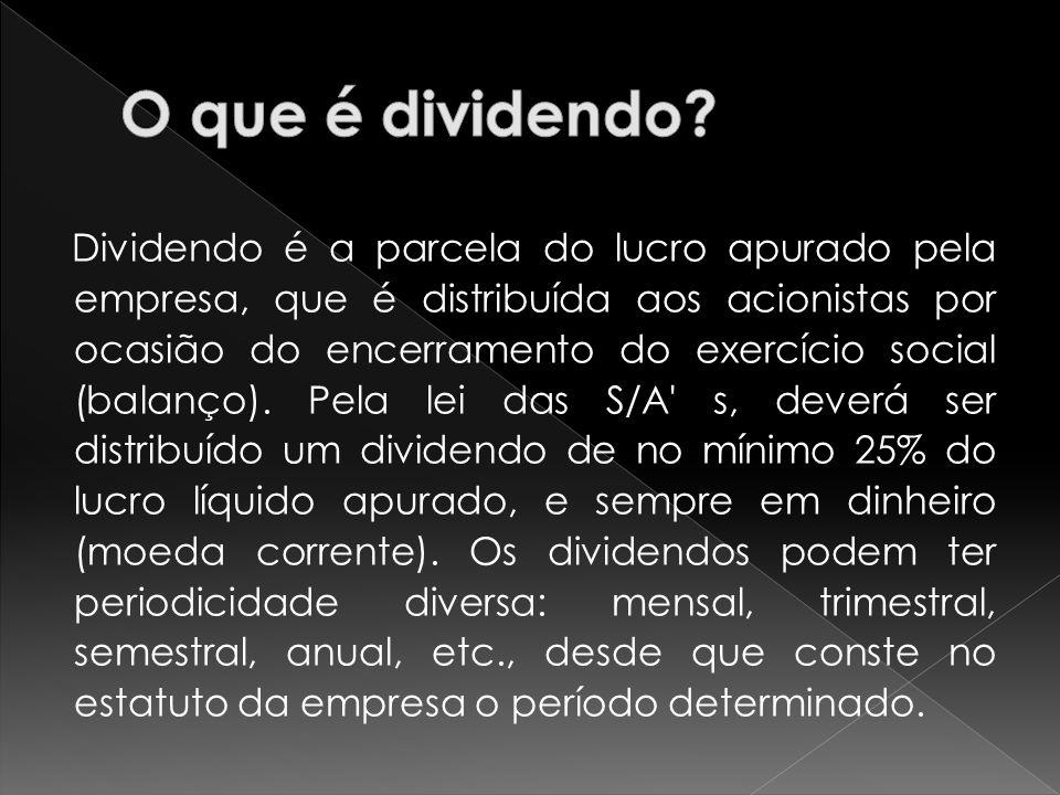 Dividendo é a parcela do lucro apurado pela empresa, que é distribuída aos acionistas por ocasião do encerramento do exercício social (balanço). Pela