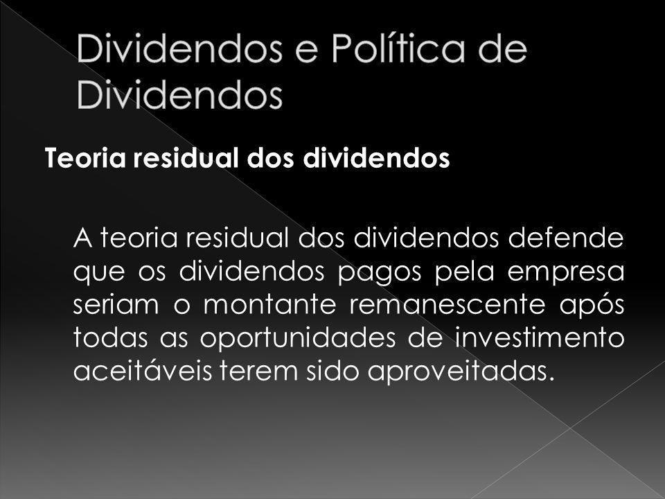 Teoria residual dos dividendos A teoria residual dos dividendos defende que os dividendos pagos pela empresa seriam o montante remanescente após todas