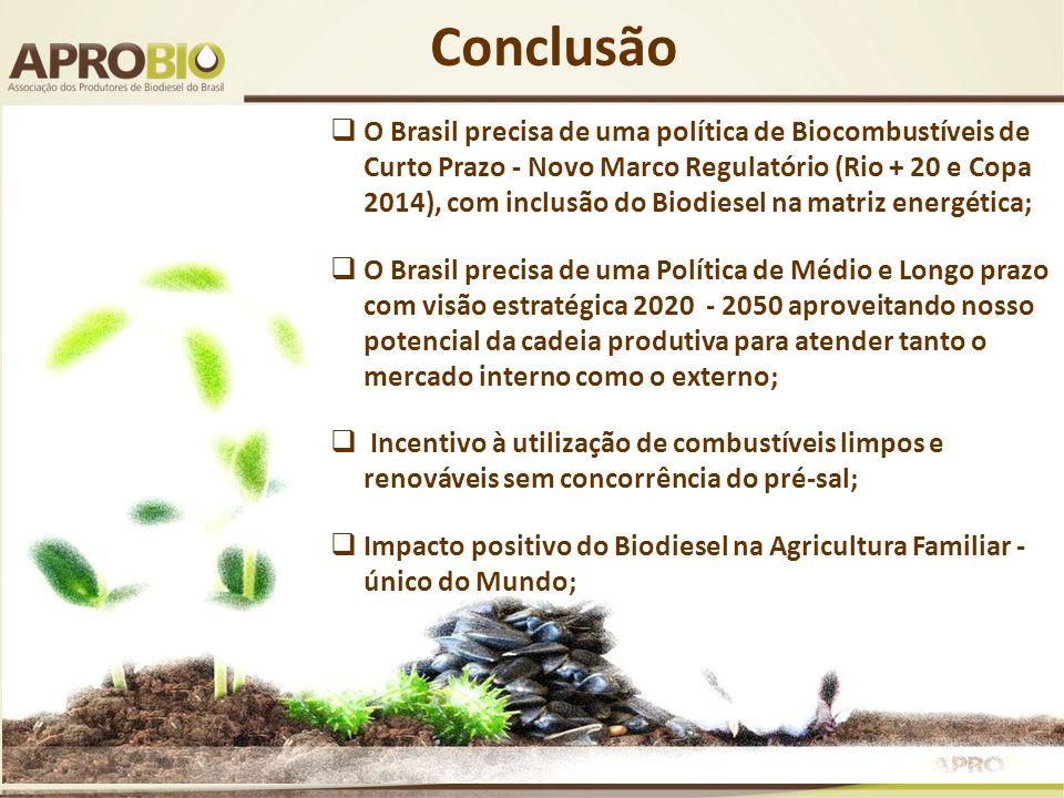 Conclusão O Brasil precisa de uma política de Biocombustíveis de Curto Prazo - Novo Marco Regulatório (Rio + 20 e Copa 2014), com inclusão do Biodiese