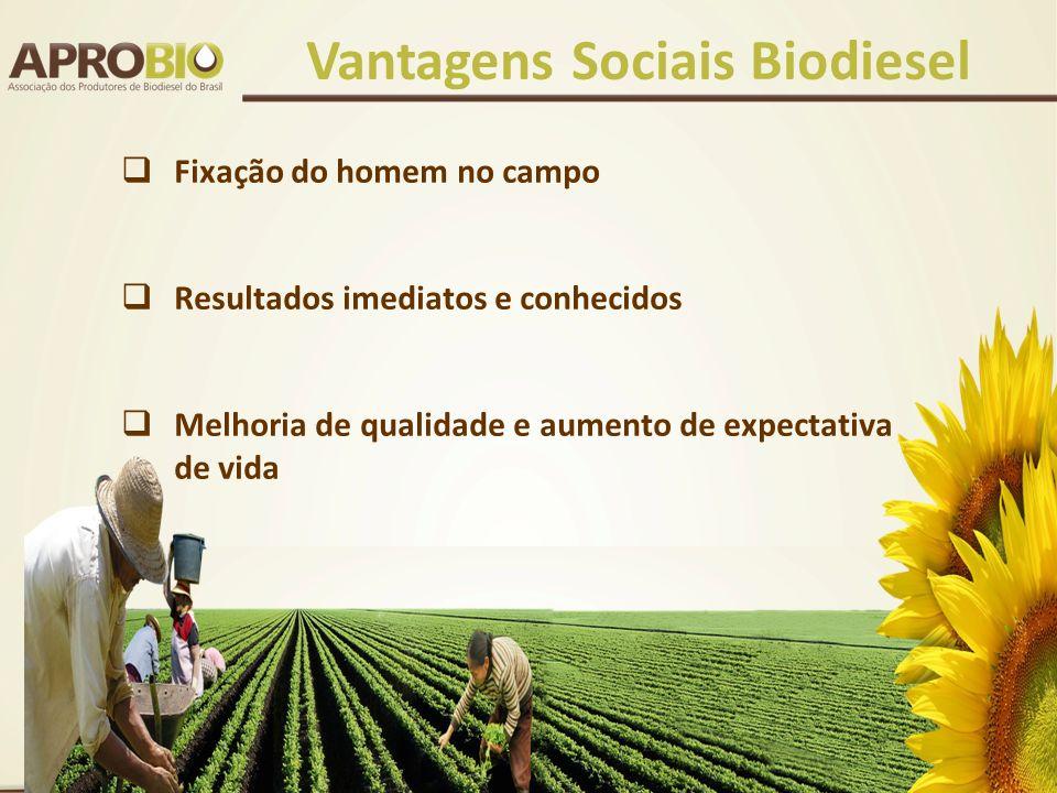 Fixação do homem no campo Resultados imediatos e conhecidos Melhoria de qualidade e aumento de expectativa de vida Vantagens Sociais Biodiesel