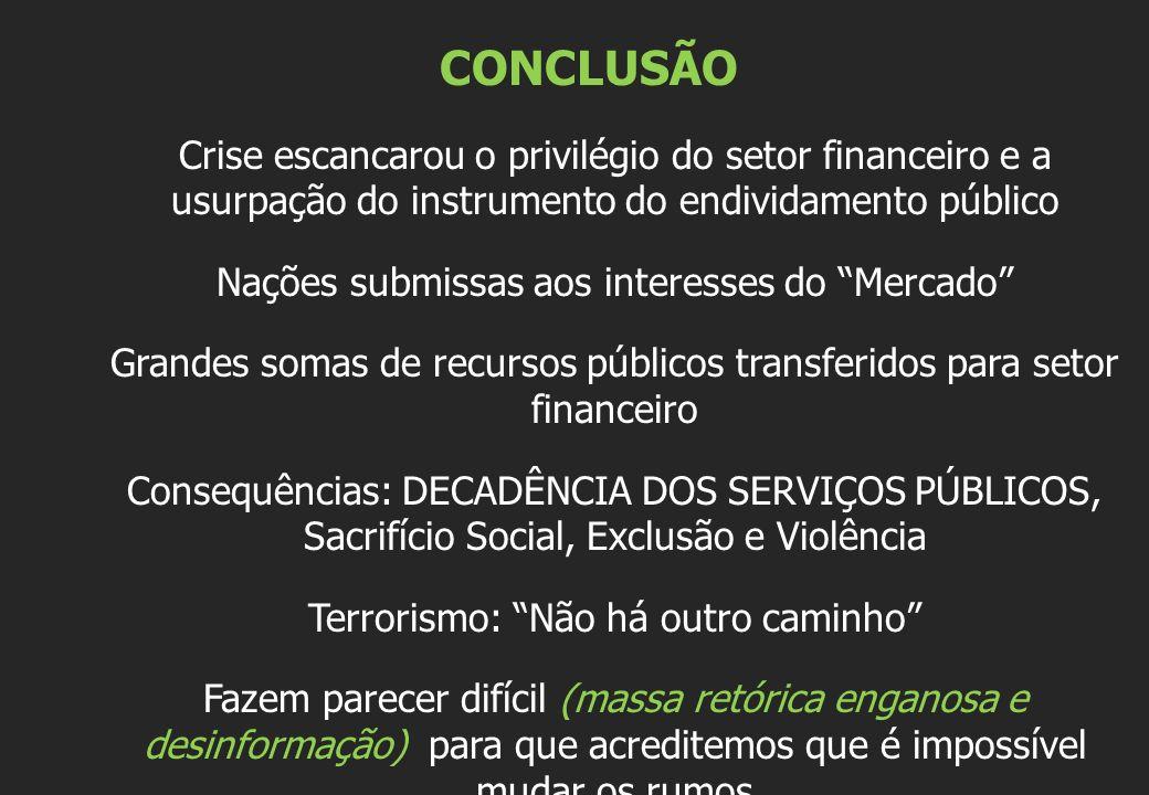 CONCLUSÃO Crise escancarou o privilégio do setor financeiro e a usurpação do instrumento do endividamento público Nações submissas aos interesses do M