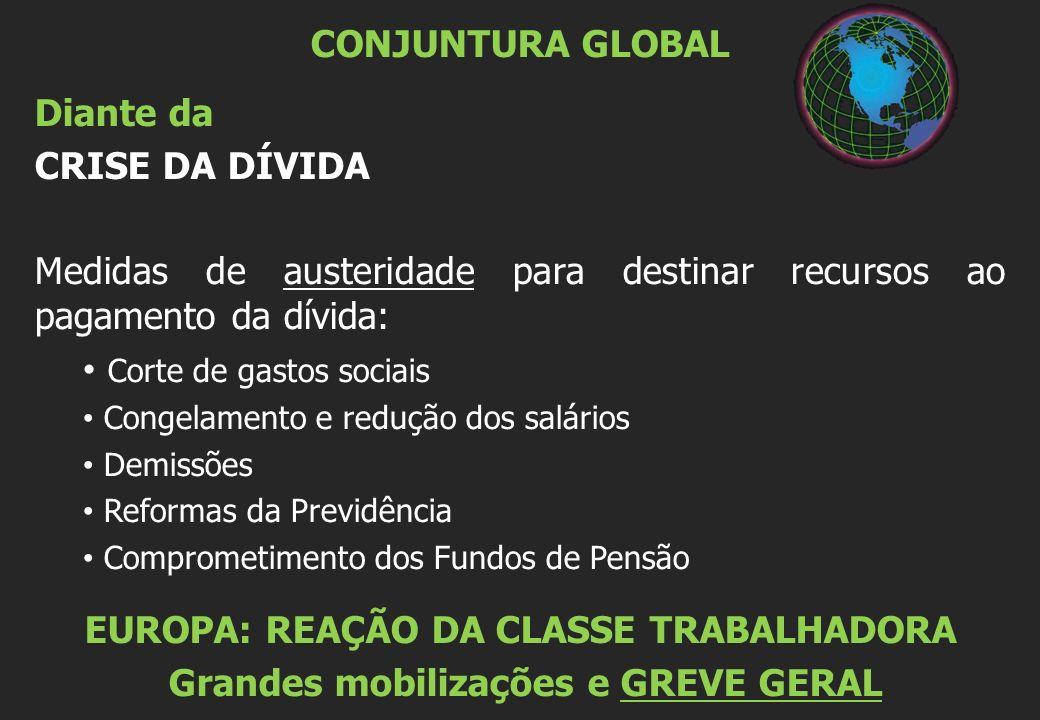 CONJUNTURA GLOBAL Diante da CRISE DA DÍVIDA Medidas de austeridade para destinar recursos ao pagamento da dívida: Corte de gastos sociais Congelamento