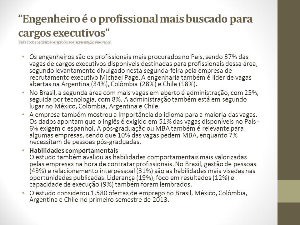 Engenheiro é o profissional mais buscado para cargos executivos Terra Todos os direitos de reprodução e representação reservados.