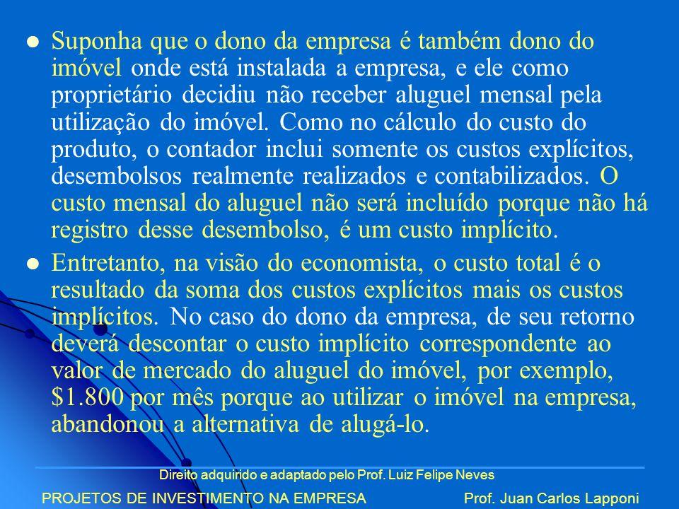 Direito adquirido e adaptado pelo Prof. Luiz Felipe Neves PROJETOS DE INVESTIMENTO NA EMPRESAProf. Juan Carlos Lapponi Suponha que o dono da empresa é