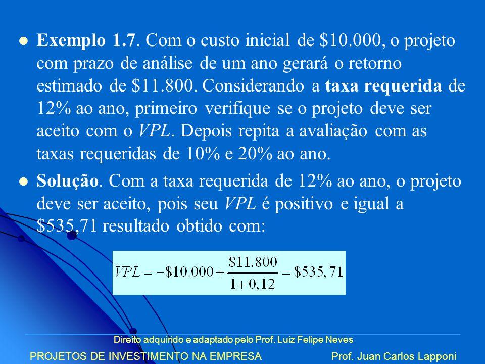 Direito adquirido e adaptado pelo Prof. Luiz Felipe Neves PROJETOS DE INVESTIMENTO NA EMPRESAProf. Juan Carlos Lapponi Exemplo 1.7. Com o custo inicia