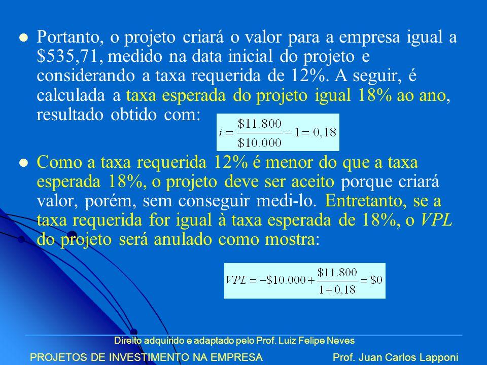 Direito adquirido e adaptado pelo Prof. Luiz Felipe Neves PROJETOS DE INVESTIMENTO NA EMPRESAProf. Juan Carlos Lapponi Portanto, o projeto criará o va