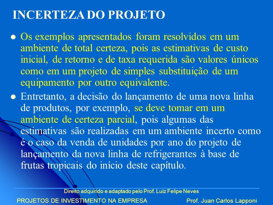 Direito adquirido e adaptado pelo Prof. Luiz Felipe Neves PROJETOS DE INVESTIMENTO NA EMPRESAProf. Juan Carlos Lapponi Os exemplos apresentados foram