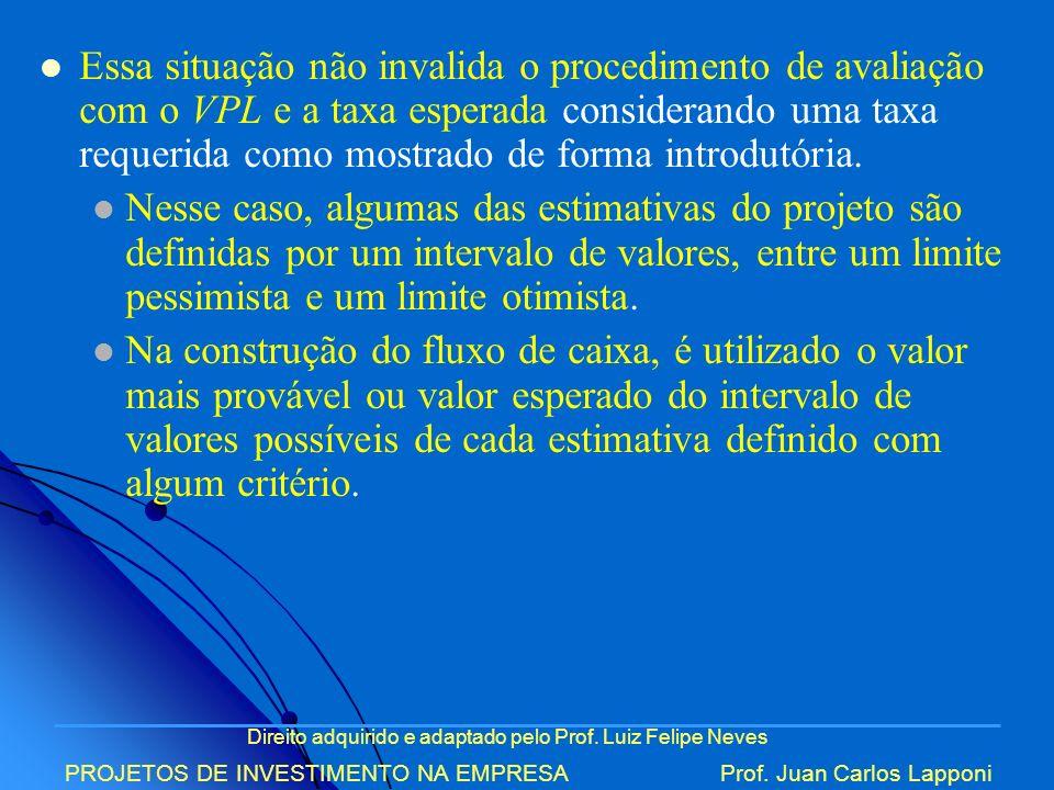 Direito adquirido e adaptado pelo Prof. Luiz Felipe Neves PROJETOS DE INVESTIMENTO NA EMPRESAProf. Juan Carlos Lapponi Essa situação não invalida o pr