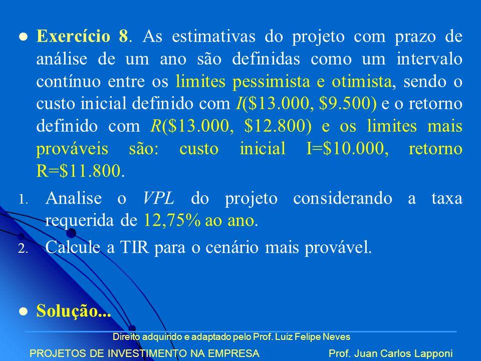 Direito adquirido e adaptado pelo Prof. Luiz Felipe Neves PROJETOS DE INVESTIMENTO NA EMPRESAProf. Juan Carlos Lapponi Exercício 8. As estimativas do