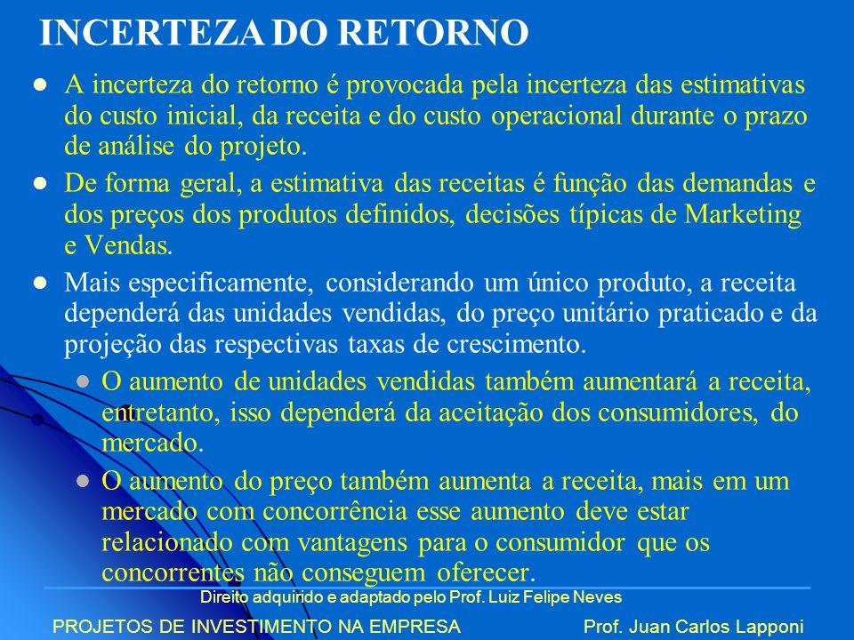 Direito adquirido e adaptado pelo Prof. Luiz Felipe Neves PROJETOS DE INVESTIMENTO NA EMPRESAProf. Juan Carlos Lapponi A incerteza do retorno é provoc