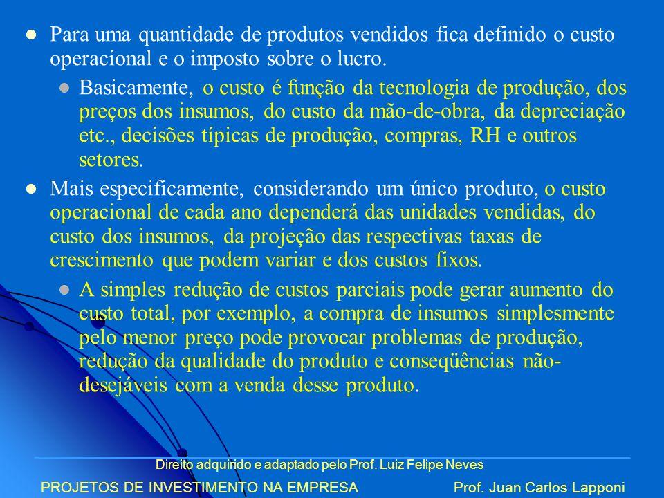 Direito adquirido e adaptado pelo Prof. Luiz Felipe Neves PROJETOS DE INVESTIMENTO NA EMPRESAProf. Juan Carlos Lapponi Para uma quantidade de produtos