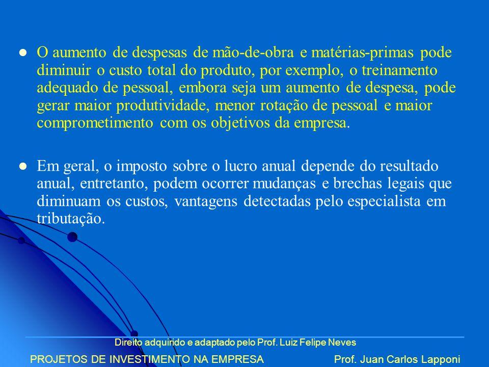 Direito adquirido e adaptado pelo Prof. Luiz Felipe Neves PROJETOS DE INVESTIMENTO NA EMPRESAProf. Juan Carlos Lapponi O aumento de despesas de mão-de