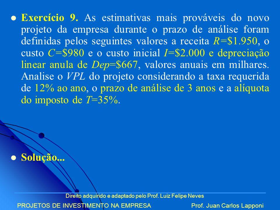 Direito adquirido e adaptado pelo Prof. Luiz Felipe Neves PROJETOS DE INVESTIMENTO NA EMPRESAProf. Juan Carlos Lapponi Exercício 9. As estimativas mai