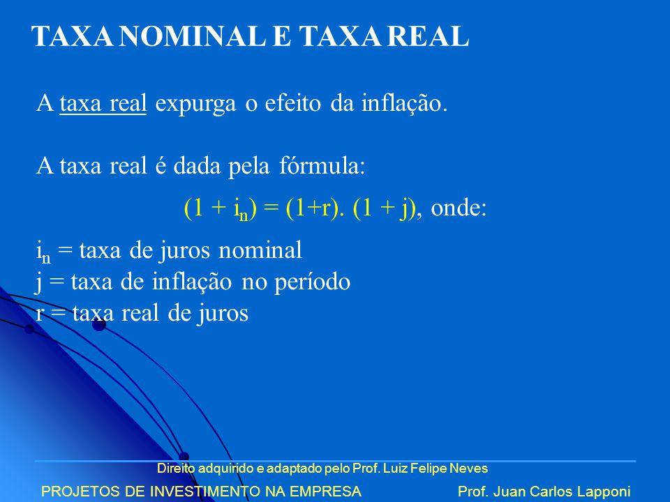 Direito adquirido e adaptado pelo Prof. Luiz Felipe Neves PROJETOS DE INVESTIMENTO NA EMPRESAProf. Juan Carlos Lapponi TAXA NOMINAL E TAXA REAL A taxa