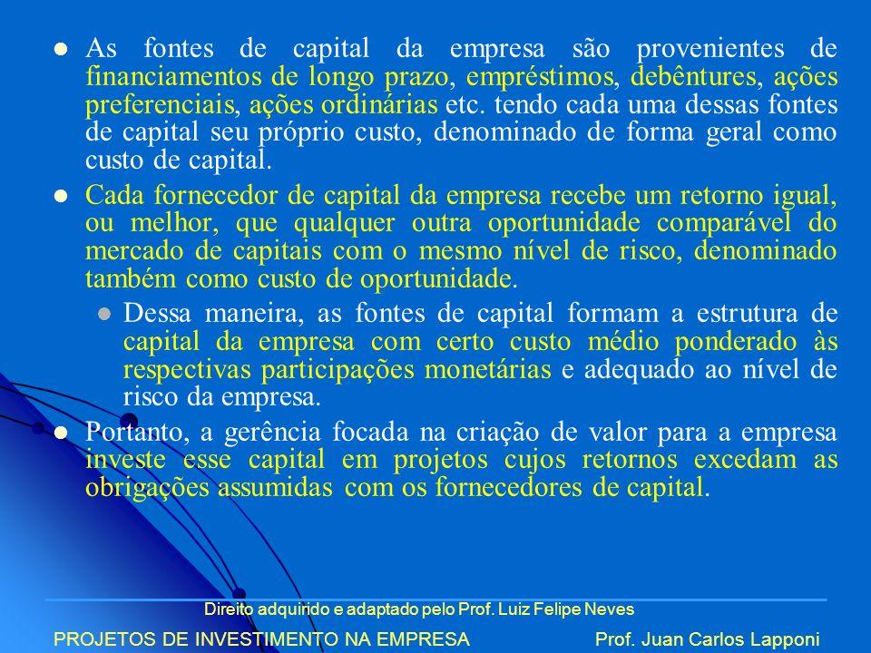 Direito adquirido e adaptado pelo Prof. Luiz Felipe Neves PROJETOS DE INVESTIMENTO NA EMPRESAProf. Juan Carlos Lapponi As fontes de capital da empresa