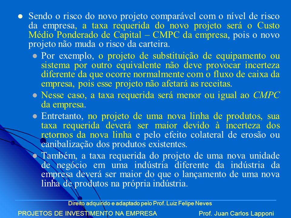 Direito adquirido e adaptado pelo Prof. Luiz Felipe Neves PROJETOS DE INVESTIMENTO NA EMPRESAProf. Juan Carlos Lapponi Sendo o risco do novo projeto c