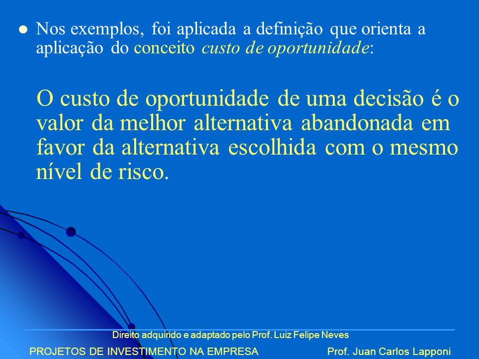 Direito adquirido e adaptado pelo Prof. Luiz Felipe Neves PROJETOS DE INVESTIMENTO NA EMPRESAProf. Juan Carlos Lapponi Nos exemplos, foi aplicada a de