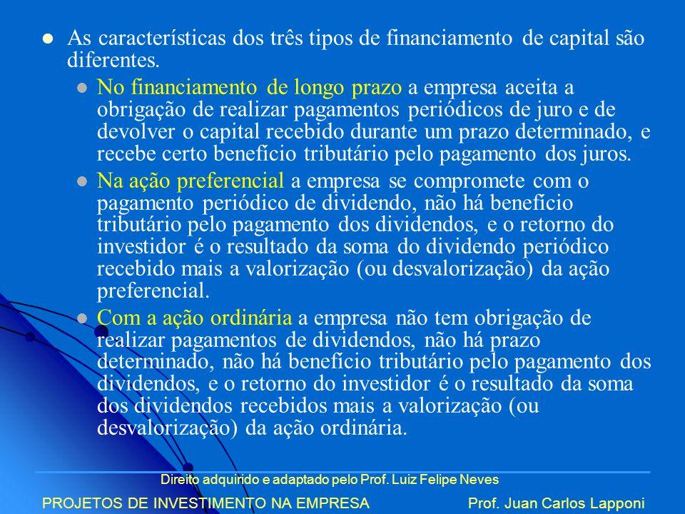 Direito adquirido e adaptado pelo Prof. Luiz Felipe Neves PROJETOS DE INVESTIMENTO NA EMPRESAProf. Juan Carlos Lapponi As características dos três tip