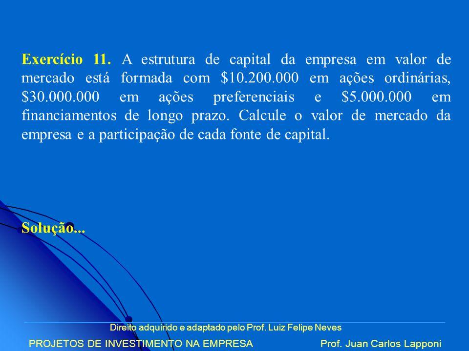 Direito adquirido e adaptado pelo Prof. Luiz Felipe Neves PROJETOS DE INVESTIMENTO NA EMPRESAProf. Juan Carlos Lapponi Exercício 11. A estrutura de ca