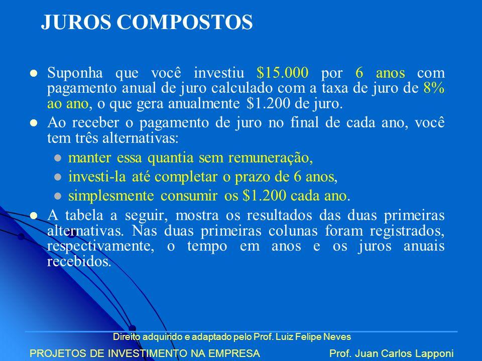 Direito adquirido e adaptado pelo Prof. Luiz Felipe Neves PROJETOS DE INVESTIMENTO NA EMPRESAProf. Juan Carlos Lapponi Suponha que você investiu $15.0