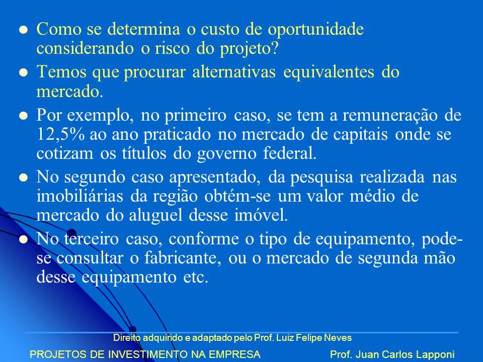 Direito adquirido e adaptado pelo Prof. Luiz Felipe Neves PROJETOS DE INVESTIMENTO NA EMPRESAProf. Juan Carlos Lapponi Como se determina o custo de op