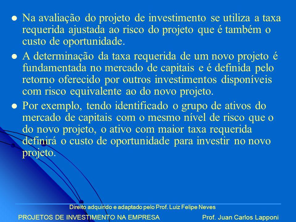 Direito adquirido e adaptado pelo Prof. Luiz Felipe Neves PROJETOS DE INVESTIMENTO NA EMPRESAProf. Juan Carlos Lapponi Na avaliação do projeto de inve