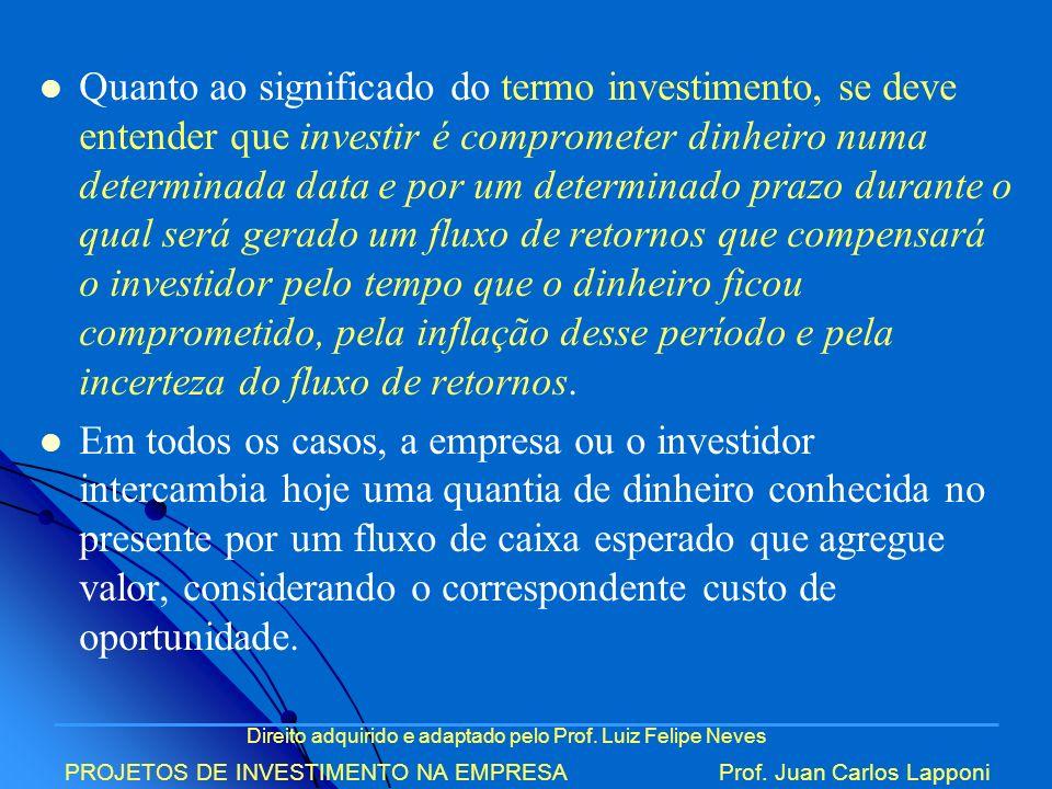 Direito adquirido e adaptado pelo Prof. Luiz Felipe Neves PROJETOS DE INVESTIMENTO NA EMPRESAProf. Juan Carlos Lapponi Quanto ao significado do termo