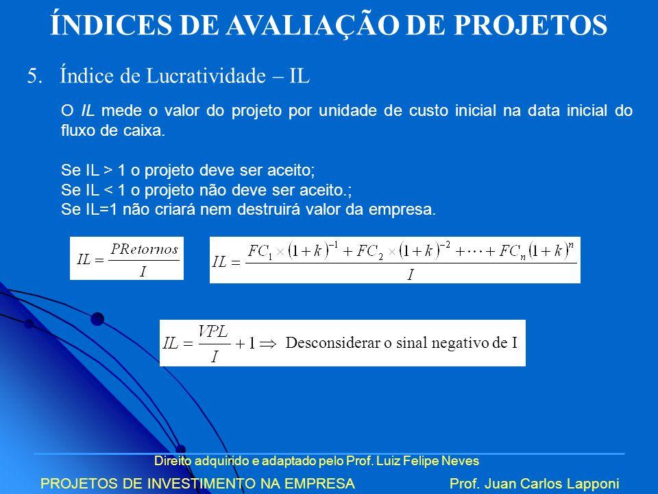 Direito adquirido e adaptado pelo Prof. Luiz Felipe Neves PROJETOS DE INVESTIMENTO NA EMPRESAProf. Juan Carlos Lapponi ÍNDICES DE AVALIAÇÃO DE PROJETO