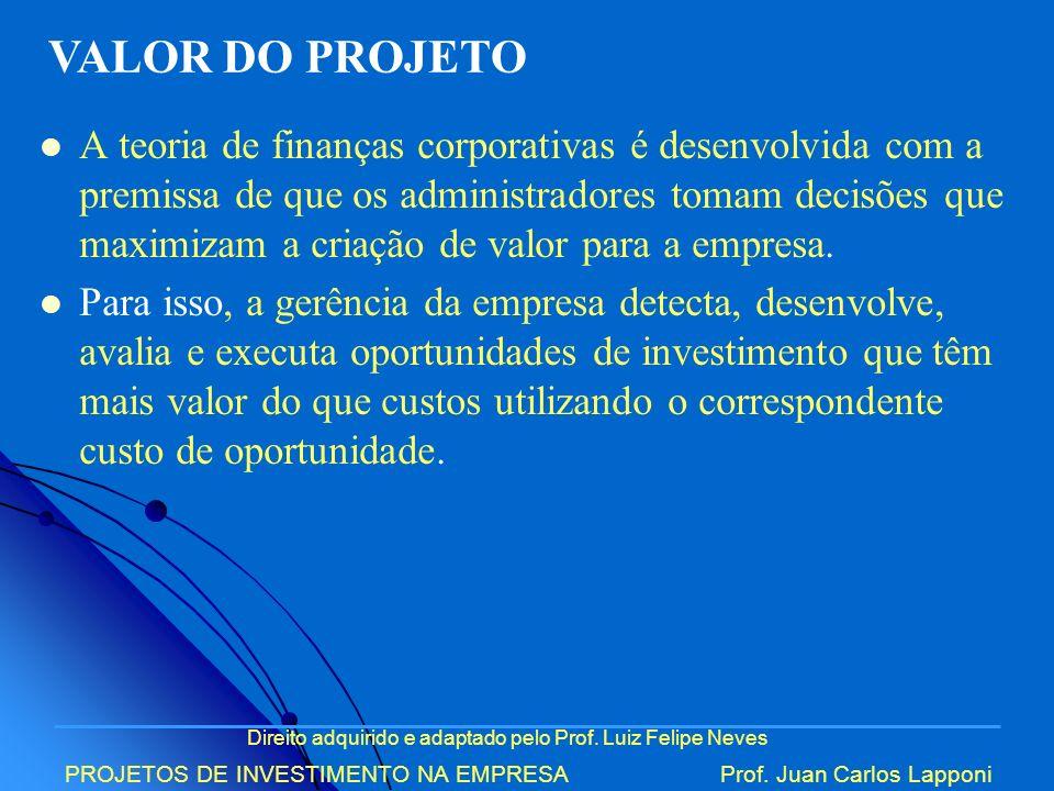 Direito adquirido e adaptado pelo Prof. Luiz Felipe Neves PROJETOS DE INVESTIMENTO NA EMPRESAProf. Juan Carlos Lapponi A teoria de finanças corporativ