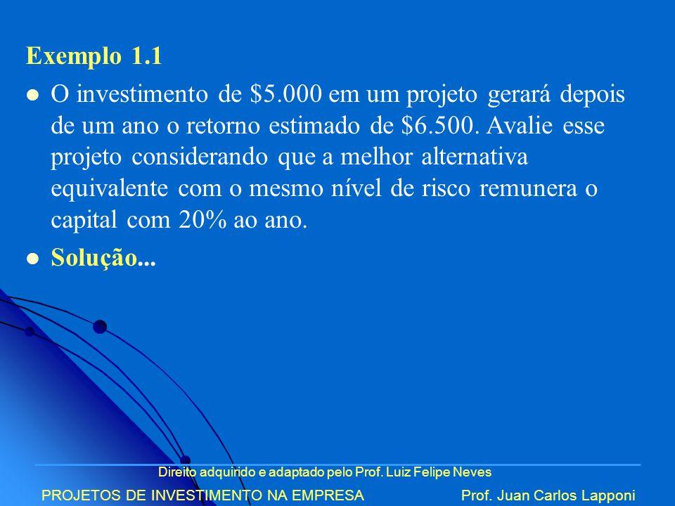 Direito adquirido e adaptado pelo Prof. Luiz Felipe Neves PROJETOS DE INVESTIMENTO NA EMPRESAProf. Juan Carlos Lapponi Exemplo 1.1 O investimento de $