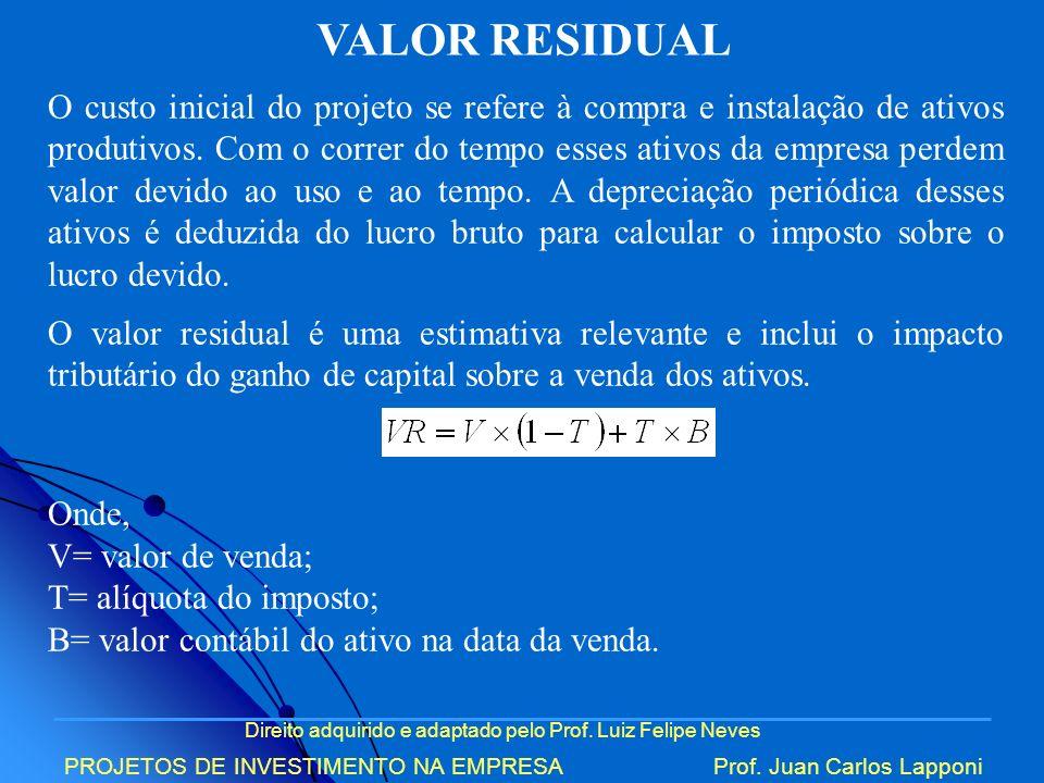 Direito adquirido e adaptado pelo Prof. Luiz Felipe Neves PROJETOS DE INVESTIMENTO NA EMPRESAProf. Juan Carlos Lapponi VALOR RESIDUAL O custo inicial